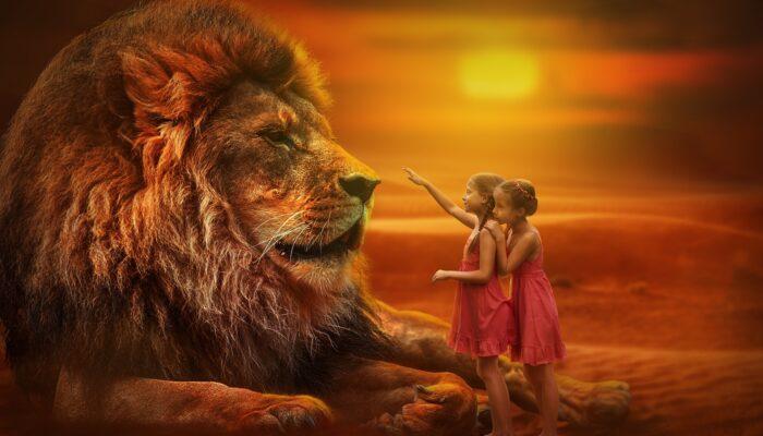 Löwe mit Mädchen das Innere Kind